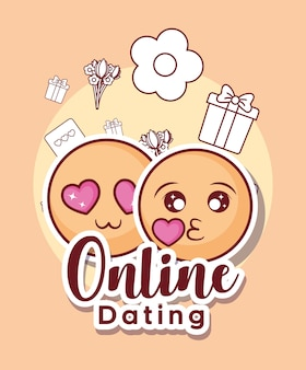Online dating design with emoji and related icons