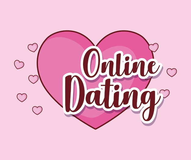 Online dating design with heart icon