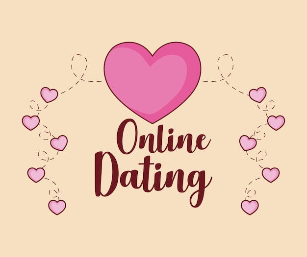 Online dating design with hearts
