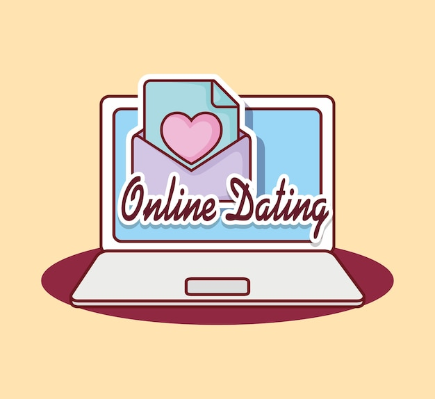 Online dating design with laptop computer and love letter