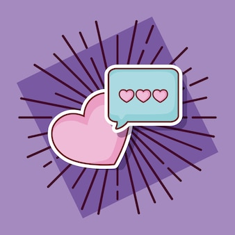 Online dating design with speech bubble and heart