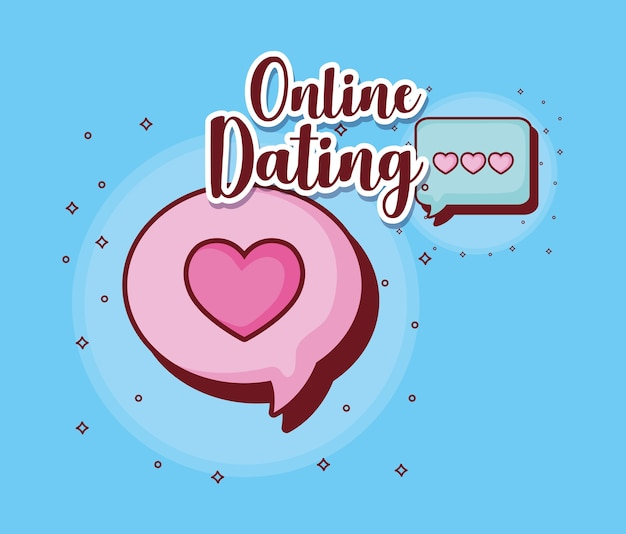 Online dating design with speech bubble