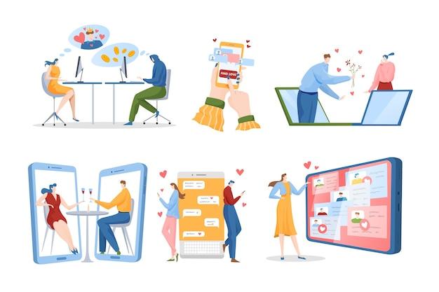 Набор иллюстраций концепции любви расстояния онлайн-знакомств