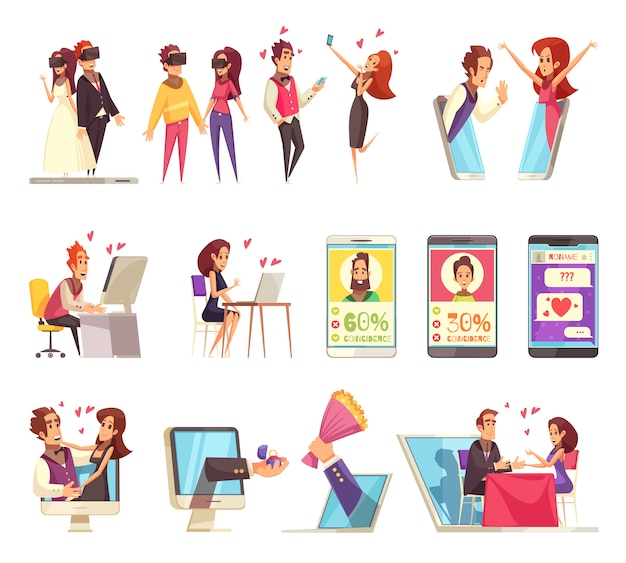 Online dating icons collection