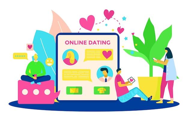 ソーシャルメディアでのオンラインデート、ベクトルイラスト。男性女性キャラクター使用デバイス、カップルチャット用のモバイルインターネットアプリケーション。女の子の男はスマートフォンで愛のメッセージを送信し、技術による関係。