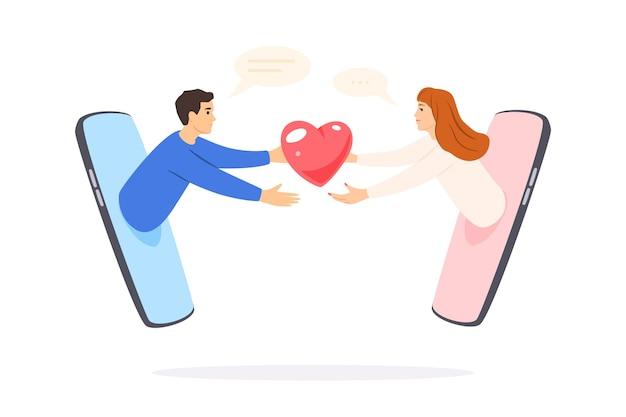 온라인 데이트, 소셜 네트워크에서의 인터넷 관계. 남자와 여자 전화 통화, 멀리서 사랑.