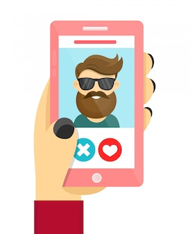 Online dating love app concept. men and women use phone to develop relations and date.