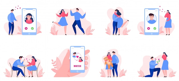 Online dating, people man, woman date on internet, collection set on banner