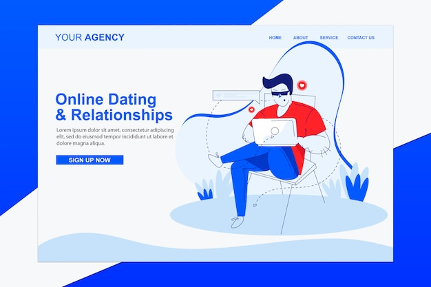 Online dating and relationships landing page with modern flat illustration