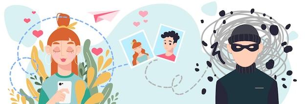 Концепция мошенничества онлайн-знакомств. молодая девушка знакомится в интернете с незнакомцем-мошенником. кибербезопасность для онлайн-знакомств. плоский рисунок изолирован