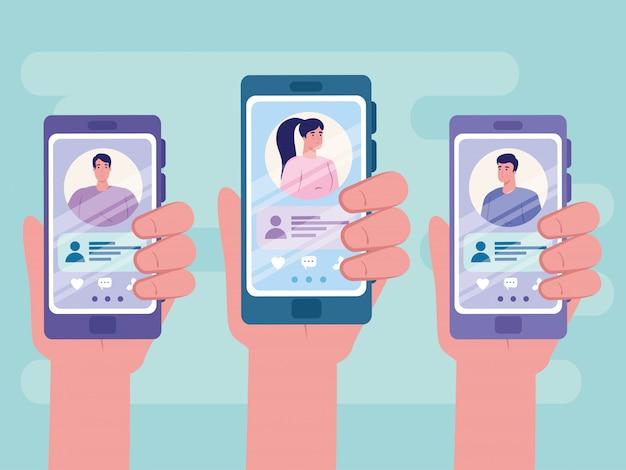 オンラインデートサービスアプリケーション、男性と女性のプロファイルを持つスマートフォンを持っている手、カップル、ソーシャルメディア、仮想関係通信の概念を探している現代人
