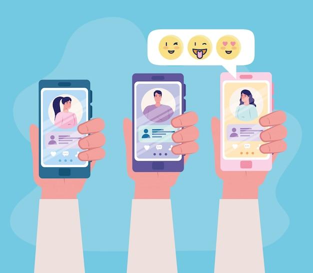 オンラインデートサービスアプリケーション、男性と女性のプロファイルを持つスマートフォンを持っている手、カップルを探している現代人、ソーシャルメディア、仮想関係コミュニケーション