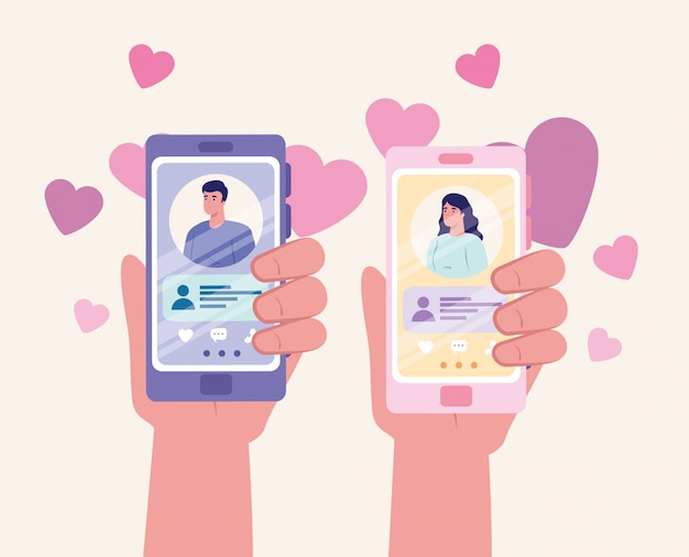 Online dating service application, hands holding smartphone with man and woman profiles, modern people looking for couple, social media, virtual relationship communication