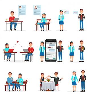 出会い系サイト、出会い系サイトやアプリをスマートフォンやパソコンで使って恋をする人イラスト