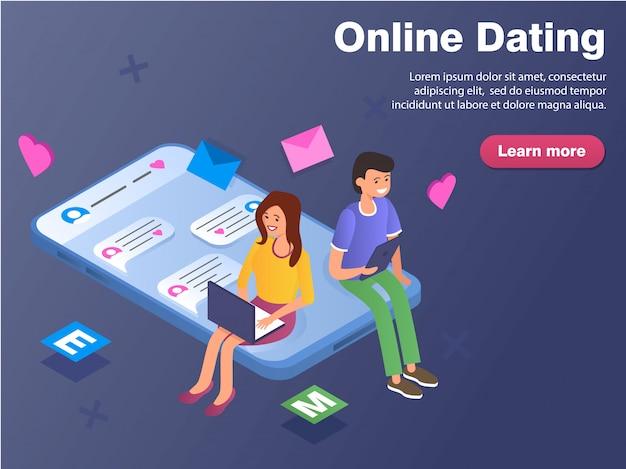 Онлайн знакомства, виртуальные отношения и концепция социальной сети баннер.