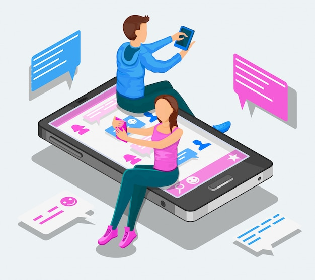 Online dating and virtual relationships isometric concept. teenagers are chatting sitting on a smartphone.