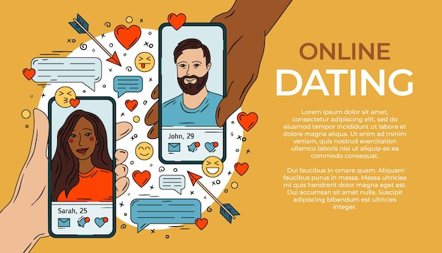 Online dating woman and man on the smartphone
