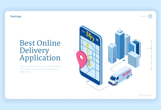 Online delivery application isometric landing page.