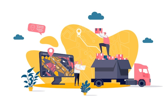 Online delivery flat concept with people characters  illustration