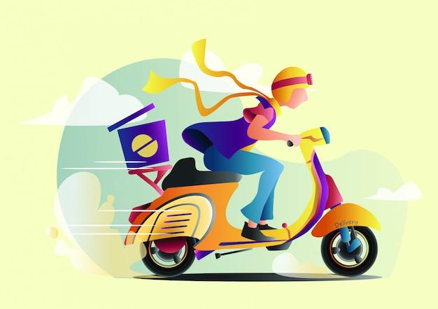 Online delivery flat vector illustration.