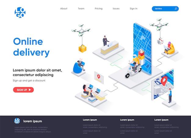 Изометрический шаблон целевой страницы онлайн-доставки