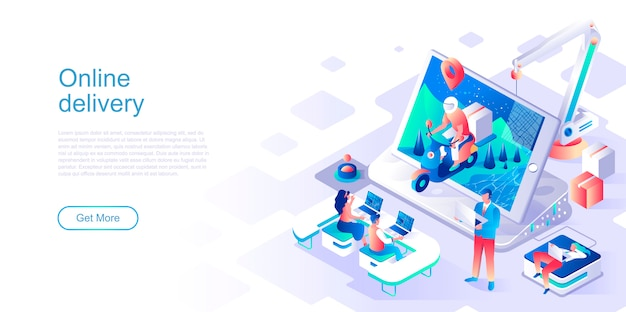 Online delivery isometric landing page vector template.