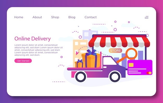 Online delivery landing page template design