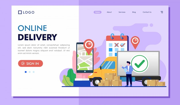 Online delivery landing page website illustration