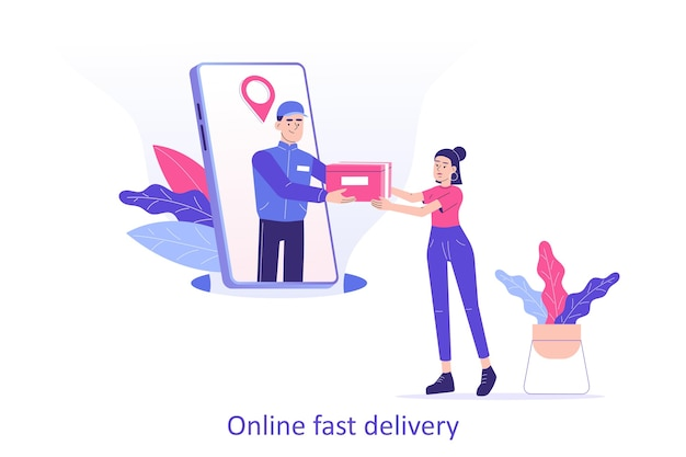 Online delivery man or courier giving a box to woman from smartphone