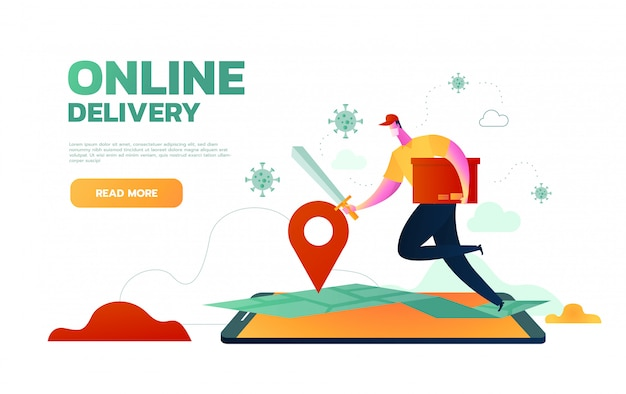 Online delivery man wearing protection mask and gloves fighting with covid 19 to delivery order. online delivery jumping from mobile concept