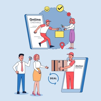 온라인 배송, 주문 서비스 및 손으로 직접 배송