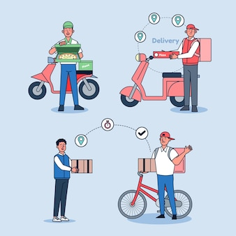 Online delivery, ordering service and delivery service illustration set