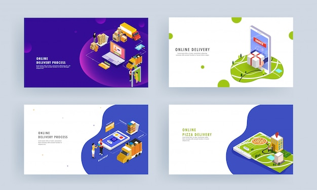 Online delivery process based isometric design with product order, packaging, shipping and courier boy delivering at destination point.