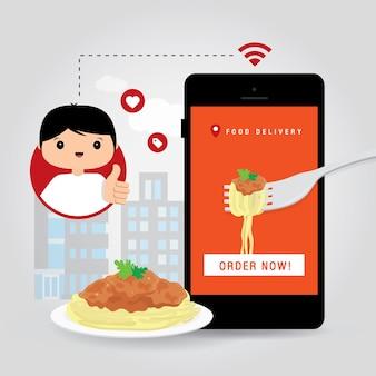 オンライン配信サービスのコンセプト漫画イラスト。オンライン食品注文インフォグラフィックのモバイルスマートフォンオープンアプリを持っている手。 covid19。市内の検疫。