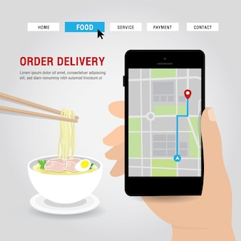 Online delivery service concept cartoon  illustration. hand holding mobile smart phone open app for online food order infographic. covid-19. quarantine in the city.