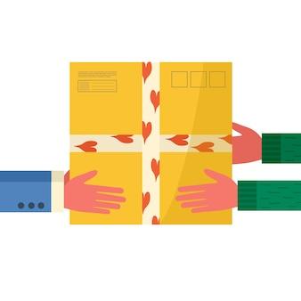 Концепция службы доставки онлайн. курьер в руках держит посылку, посылку и передает ее покупателю. отслеживание заказа почтового картонного ящика. доставка на дом и в офис. вектор, плоский дизайн.