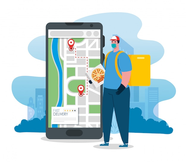 Online delivery service concept, during coronavirus , worker with smartphone