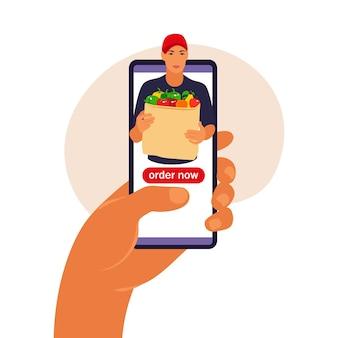 Концепция службы доставки онлайн. концепция электронной коммерции. инфографика онлайн-заказа еды. векторная иллюстрация.