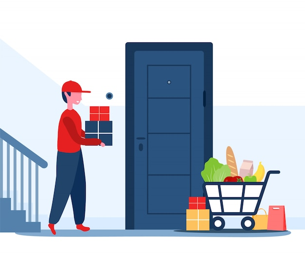 온라인 배달 서비스 개념 집과 사무실. 택배는 패키지를 집으로 가져 왔습니다. 비접촉식 배송. 식당 음식 및 우편 배송. 만화 스타일의 현대 그림입니다.