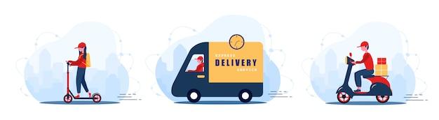 온라인 배달 서비스 개념 집과 사무실. 자동차, 자전거 및 스쿠터에 빠른 택배. 식당 음식 및 우편 배송. 플랫 만화 스타일의 현대 그림입니다.