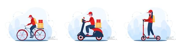온라인 배달 서비스 개념 집과 사무실. 빠른 택배와 스쿠터. 식당 음식, 우편 및 패키지 배송. 만화 스타일의 현대 그림입니다.