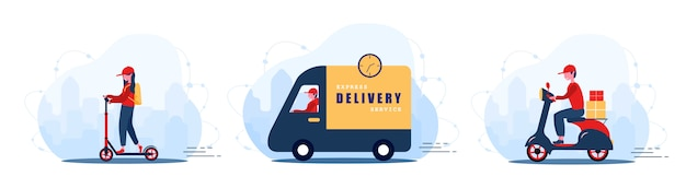 Online delivery service concept home and office. fast courier on car, bike and scooter. shipping restaurant food and mail. modern illustration in flat cartoon style.