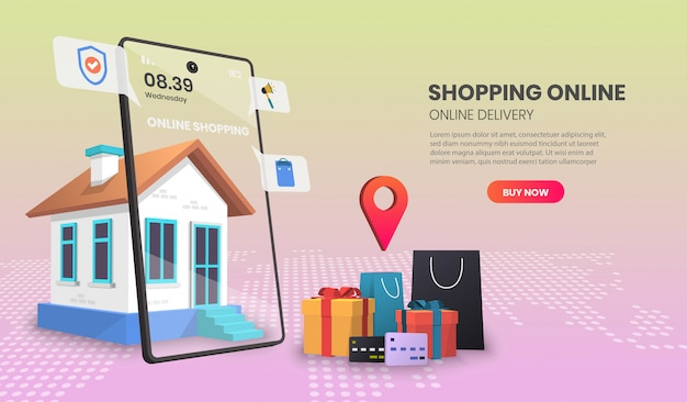 Online delivery service concept, online order tracking, delivery home and office.3d illustration.