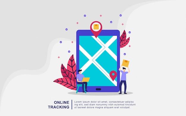 Онлайн сервис доставки концепции, онлайн-отслеживание заказов, отгрузка и доставка, онлайн-отслеживание доставки грузов, подходит для веб-целевой страницы, пользовательский интерфейс, шаблон мобильного приложения. векторная иллюстрация