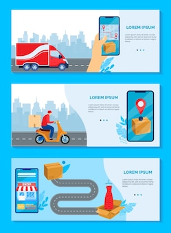 Online delivery service concept vector illustration. cartoon flat delivering boxes of goods banner collection with human hand ordering using mobile smartphone shop app, deliver order fast tracking set