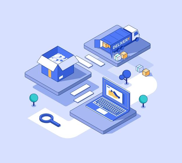 온라인 배송 서비스 개념택배 및 사무실 도시 물류 창고 트럭