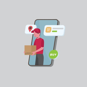 Online delivery service. free and fast delivery, online shop illustration, courier holding cardboard boxes on smartphone screen