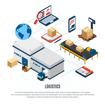 Online delivery service logistics isometric flowchart with freight vehicles and warehouse building 3d isometric vector illustration