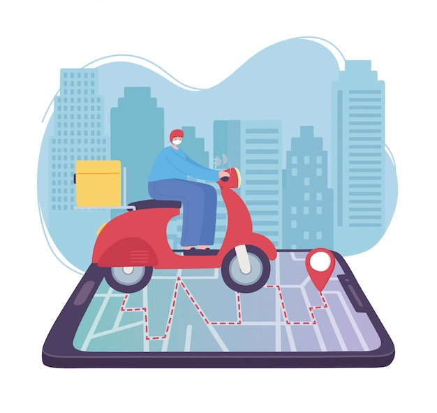 Online delivery service, man riding a scooter on the smartphone map to the pointer, fast and free transport, order shipping, app website  illustration