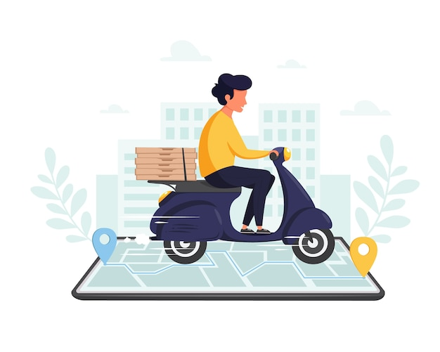 Служба доставки онлайн, концепция покупок в интернете. быстрая доставка самокатом по мобильному телефону. в плоском стиле.